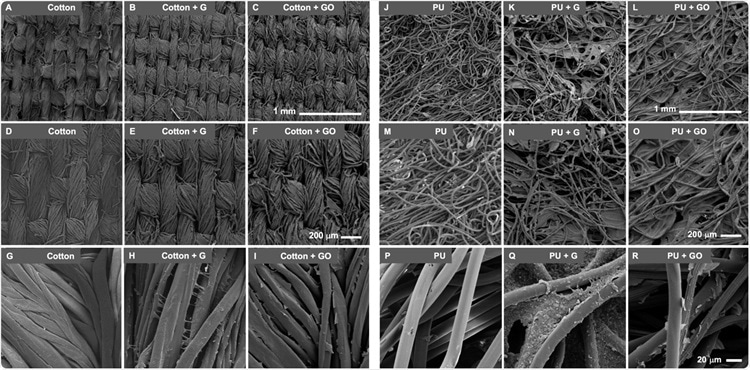 Scanning electron microscopic (SEM) images of Graphene (G) and Graphene oxide (GO) functionalized materials