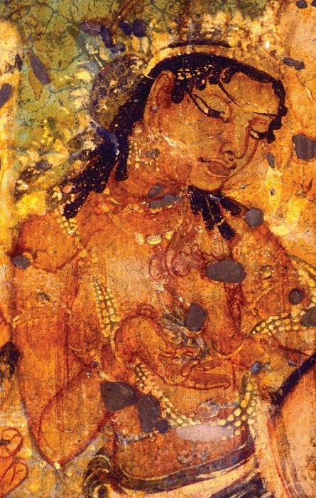 The original detail shot of the Ajanta painting of King Mahajanaka.