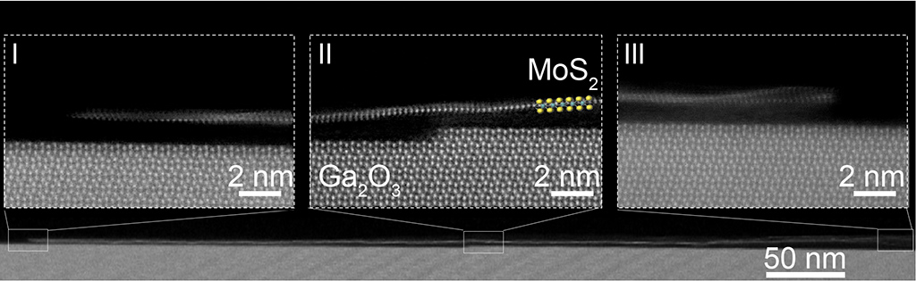 This cross-section view shows the long and monolayer MoS2 nanoribbon on top of the ledge of Ga2O3 substrate