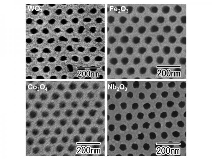 newly fabricated highly ordered nanohole arrays in tungsten, iron, cobalt and niobium oxide layers