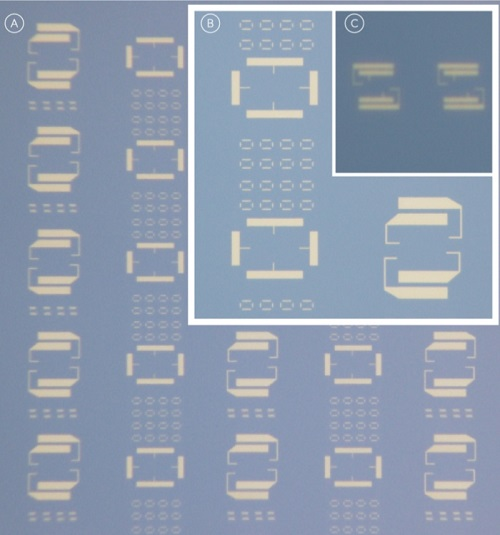 Nanofabricated biochip electrode componentry of a silicon wafer containing patterns of metallic electrodes at various feature sizes down to 100-150 nanometres