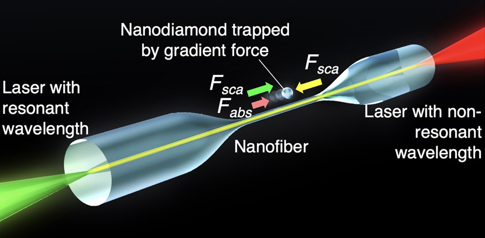 The optical forces acting on the nanodiamond