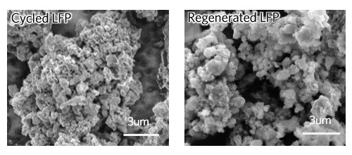 SEM image of lithium iron phosphate (LFP) cathode before regeneration (left) and after (right)