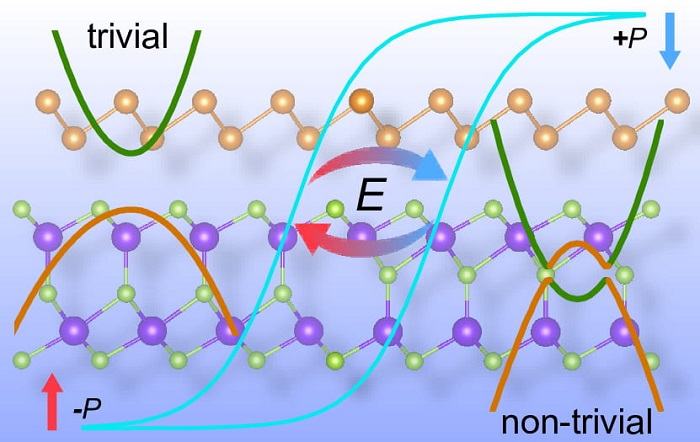 Researchers show how a unique two-dimensional compound of antimony and indium selenide can have distinct properties on each side, depending on polarization by an external electric field.