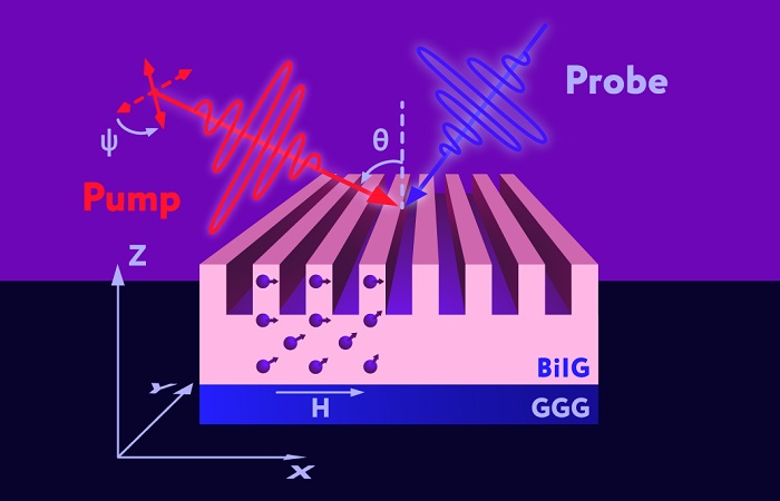 Schematic representation of spin wave excitation by optical pulses