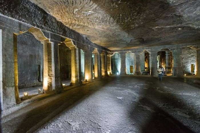Inside Cave 4 of the Ajanta Caves complex